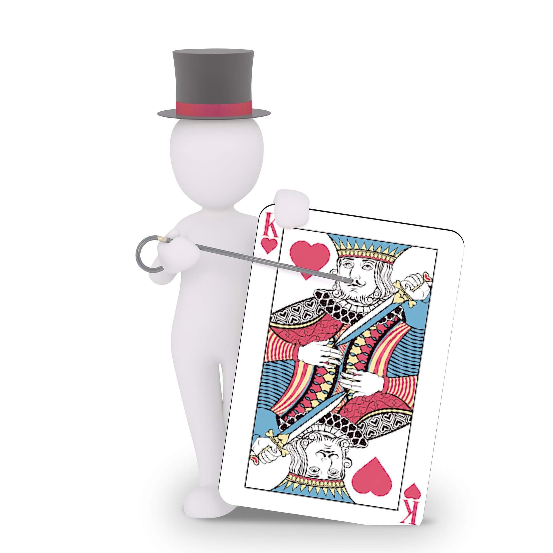 Bonhomme croupier avec un jeux de cartes en main